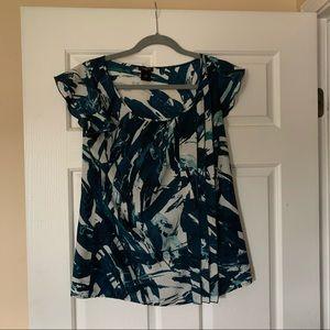 Ann Taylor cap sleeve watercolor blouse S